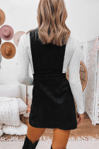 Black Corduroy Overall Sleeveless Mini Dress with Pockets