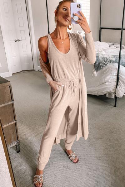 Khaki ärmellose Kordelzug Jumpsuit und Cardigan Loungewear Set