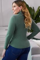 Green Plain Rollkragenpullover mit Rippen in Übergröße