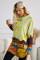 Mehrfarbiges Felddruck-Langarm-Tunika-Oberteil mit zwei Seitentaschen