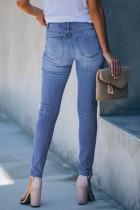 Macan Tutul Cetak Patchwork Jumbai Skinny Jeans