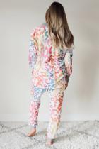 Conjunto de pantalón de chándal multicolor con estampado de leopardo y cuello en V