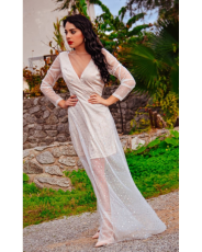 Deep V Neck Long Sleeve Sequin Tulle Wedding Long Dress