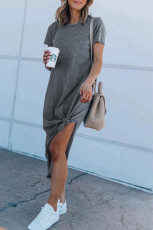 Gray Casual Short Sleeve T-shirt Midi Dress with High Splits
