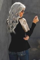 Zwarte pailletten schoudertop met lange mouwen