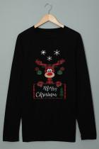 Túnica navideña negra con cuello redondo y estampado de alces