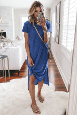 Blue Casual Short Sleeve T-shirt Midi Dress with High Splits