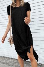 ハイスプリットのブラックカジュアル半袖Tシャツミディドレス