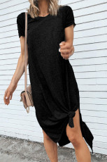 Kaos Lengan Pendek Hitam Kasual Midi Dress dengan High Splits