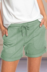 Green Elastic Waistband Pocket Drawstring Shorts with Button