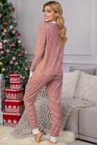 Red Split Neck Striped Button Christmas Pajamas Set with Contrast Trim