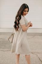 카키 레오파드 프린트 쇼트 슬리브 플리츠 미니 드레스