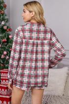 Rotes kariertes Langarm-Weihnachtspyjama-Set