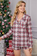 Conjunto de pijama navideño de manga larga a cuadros rojos