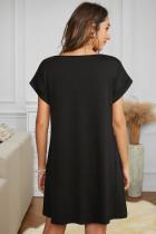 Schwarzes T-Shirt-Kleid mit V-Ausschnitt und Bündchen