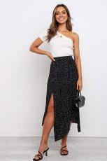 Черная модная юбка макси со складками и разрезом по бокам