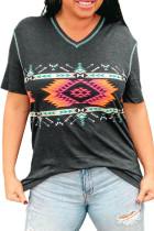 T-shirt grigia con scollo a V con stampa geometrica azteca