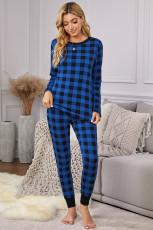 Голубая клетчатая домашняя одежда из двух предметов