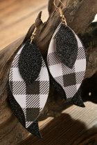 Musta ruudullinen loistava kolmikerroksinen lehti korvakoru