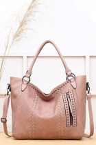 Pink Oversized Vegan Leather Tote