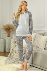 Gray Leopard Print Hoodie and Joggers Set