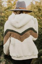 Beige Alfie Chevron Hoodie Sherpa -takki