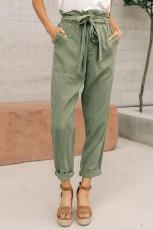 Saco de papel verde calça elástica com cós casual