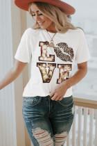 Camiseta blanca de San Valentín con estampado de letras de dibujos animados y cuello redondo