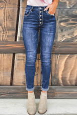 Blaue High Rise Skinny Button Fly Jeans