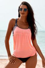 Roze gevoerde tankini-badpak met print