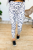 White Blue Leopard Pocketed Athletic Leggings