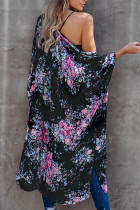 Kimono Floral Negru Mâneci Șifon Loose Beach Cover Up