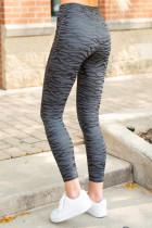 Svart høy midje mage kontroll sebra striper trykk Leggings