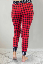 Red Plaid Print Polka Dot Splicing Drawstring Pants
