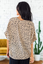 Brown Chloe Animal Print V-neck Rolled Sleeve Tunic Top