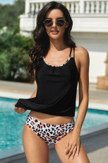 Criss Cross Tankini-Badebekleidung mit Leopardenmuster