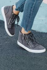 Sepatu Sneaker Ritsleting Renda Datar