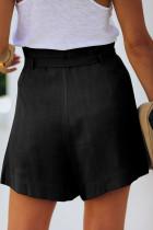 Schwarze Krawatte Taille Casual Shorts mit Taschen