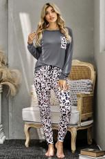 ชุดเลานจ์กางเกงขายาวลายเสือดาวลำลองสีเทา