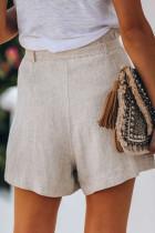 Beige Krawatte Taille Casual Shorts mit Taschen