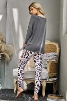 Серые повседневные брюки с леопардовым принтом с длинным рукавом, комплект домашней одежды