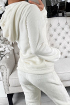 White Fleece Hoodie and Pants Sportswear