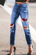 Himmelblaue Plaid Patchwork Hollow Out Ripped Jeans