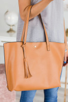 Brown Faux Leather Fringe Handbag