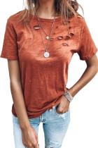 Mieszana bawełniana koszulka Orange Holes z okrągłym dekoltem