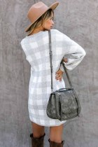 Gray Gingham Balloon Sleeve Sweater Dress