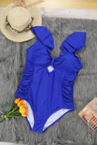 Blue Ruffle Shoulder Plus Size Đồ bơi một mảnh