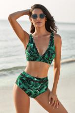 Groene tropische print V-hals uitgehold bikini met hoge taille