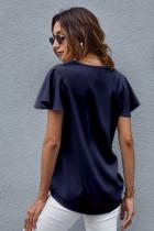 ブルーVネック半袖Tシャツ