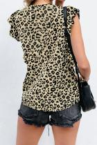 Tricou cu mânecă din șifon cu imprimeu Leopard
